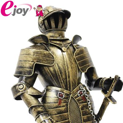 西洋甲冑人形 約幅18CMX奥行12CMX高さ47CM ゴールド (西洋 甲冑 鎧 兜 レプリカ アンティーク調 中世の騎士 ヨーロッパ)