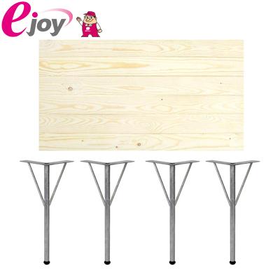 DIYテーブルセット 天板90cm 丸脚金具370mm×4本 シルバー