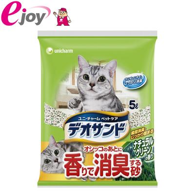 ユニ・チャーム デオサンド香りで消臭する砂ナチュラルグリ-ン5L (猫用 砂 ねこすな 猫砂)