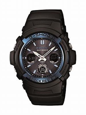 送料無料 CASIO G-shock メンズ腕時計   電波ソーラー アナデジ ブラック ブルー AWG-M100A-1AJF