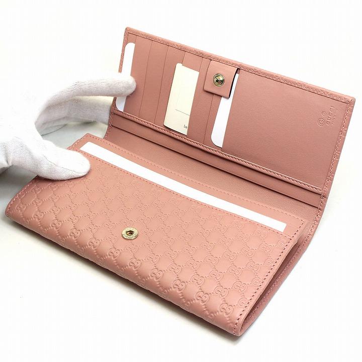 8e7dc2424c0e グッチGUCCI財布長財布レディースブランドWホックマイクロGGグッチシマレザー本革ピンク