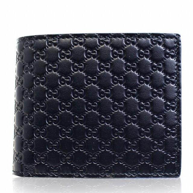 グッチ GUCCI 財布 二つ折り財布 メンズ マイクロ GG レザー 本革 ネイビー グッチシマ ブランド セール アウトレット 544472-bmj1n-4009
