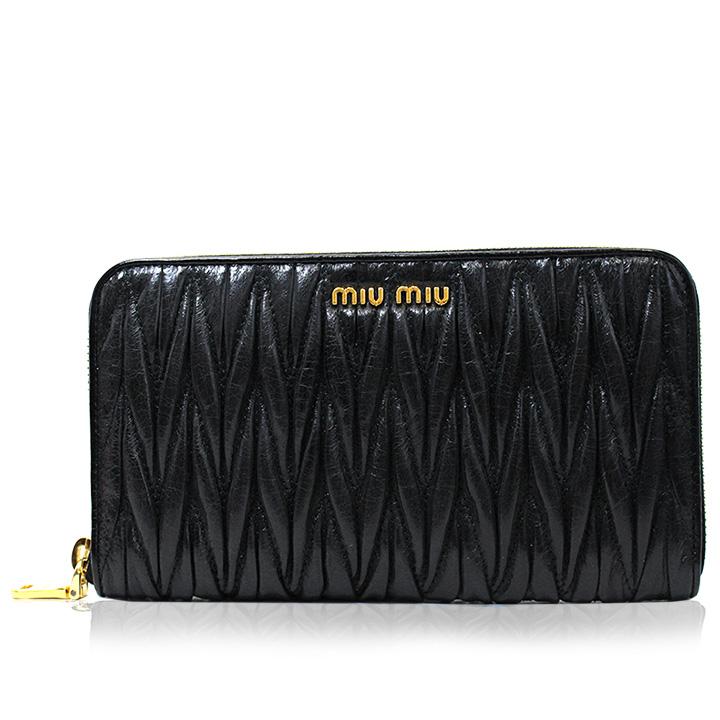 ミュウミュウ MIUMIU 長財布 ラウンドファスナー レディース アウトレット ブランド 5m0506-matlux-nero 2019 女性 彼女