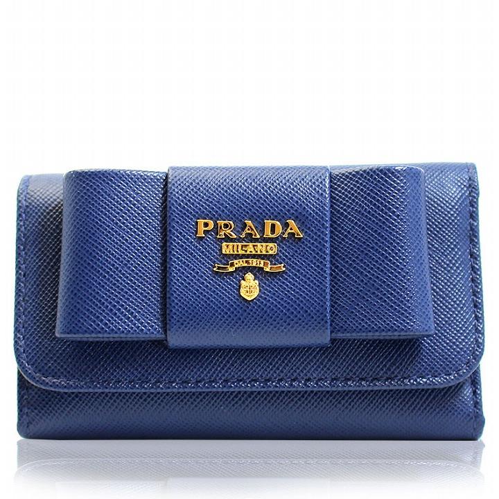 プラダ PRADA キーケース 6連 リボン アウトレット ブランド レディース 1m0222-safi-blue ブルー セール 2019 秋冬 新作