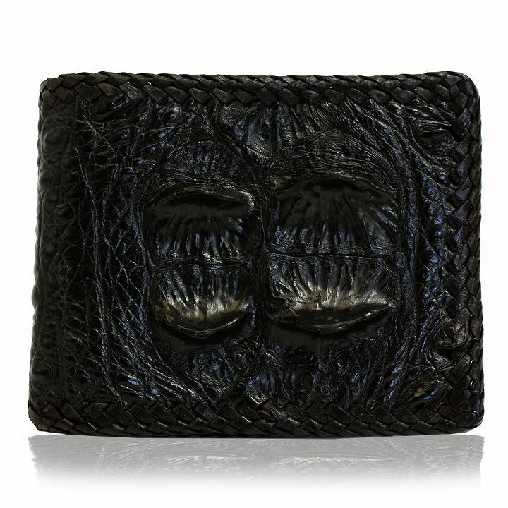 財布 二つ折り財布 メンズ クロコダイル 鰐 革 本革 レザー ショートウォレット ブラック 黒 fsmo-04 2018 クリスマスプレゼント 彼氏 男性向け