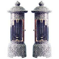 お墓用石製ローソク立 ガラス風防 薄型 SC-1型石の種類:505 【代金引換・後払い決済不可】【送料無料】