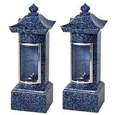お墓用石製ローソク立 ガラス風防 角型CC-3-1型石の種類:SPI 【代金引換・後払い決済不可】【送料無料】