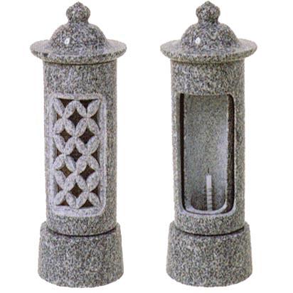 お墓用石製ローソク立 格子風防 回転型 小型サイズ MR-2型石の種類:山西黒 【代金引換・後払い決済不可】
