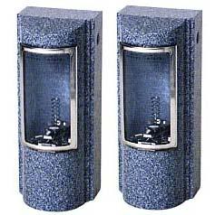 お墓用石製ローソク立 ガラス風防 デザイン型 大型サイズ DD-3型石の種類:大島(国産石) 【代金引換・後払い決済不可】【送料無料】