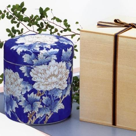 手造り高級骨壷 手描き牡丹(箱書組紐木箱付) 5寸