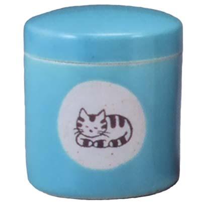【ペット用仏具】ペット用骨壷 高級型 2.5寸 猫(青磁)