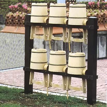 アルミ製 手桶収納棚 6個収納用 【大型送料が必要です】【代金引換・後払い決済不可】