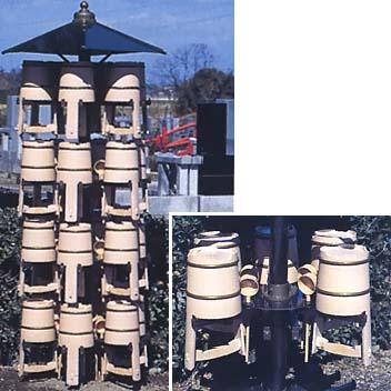 アルミ製 手桶収納棚 回転型 24個収納用 【代引不可・大型送料が必要です】