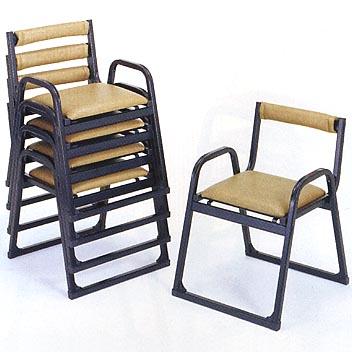 UACJ金属加工 アルミ製 本堂用椅子 4-TA型 (黒色/背付・補助アーム付)5脚セット 【送料無料】【代金引換・後払い決済不可】
