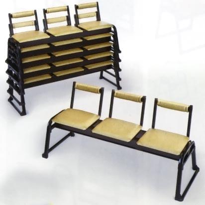 UACJ金属加工 アルミ製 本堂用椅子(長椅子3人掛け用) 背もたれ付 2脚セット 【送料無料】【代金引換・後払い決済不可】