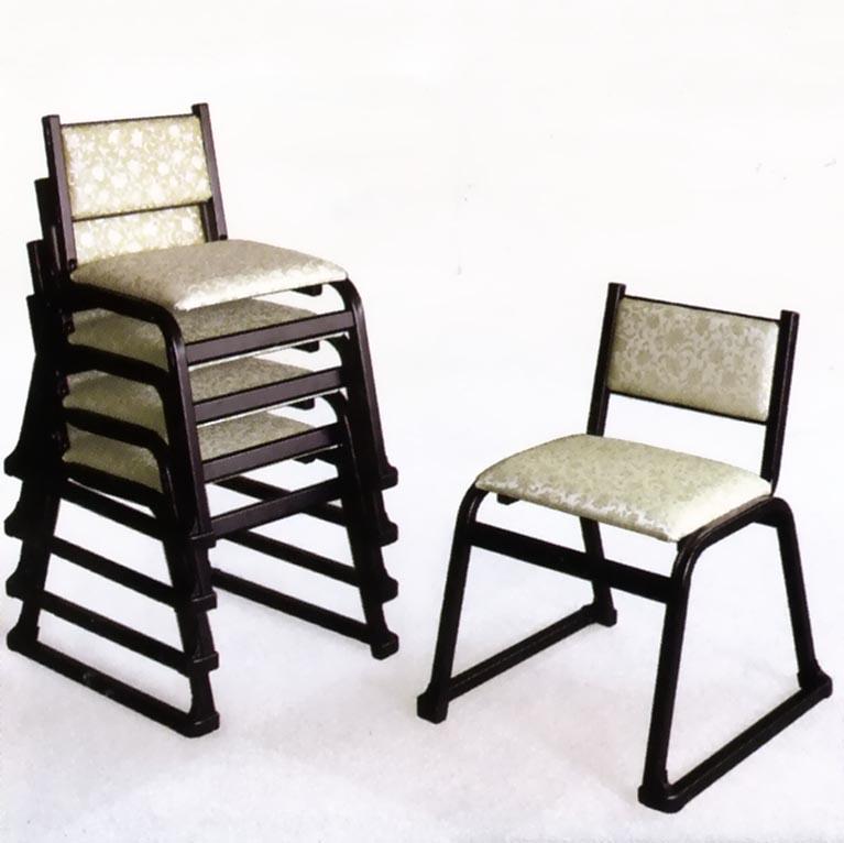 UACJ金属加工 アルミ製 本堂用椅子 5-TA型 (黒色/大型背付)5脚セット 【送料無料】【代金引換・後払い決済不可】