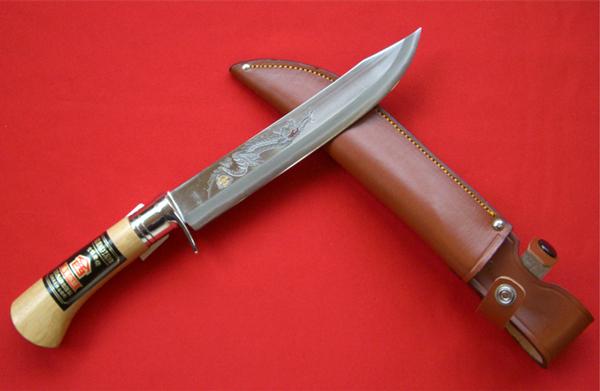 西山商会「土佐清龍作」狩猟鉈「猪鉈21cm」 (革鞘付き)