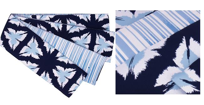 Linen leafstalk and stripe pattern dark blue, white, light blue of the 4.4m long size washable reversible half-breadth sash / kimono, yukata zone shading off