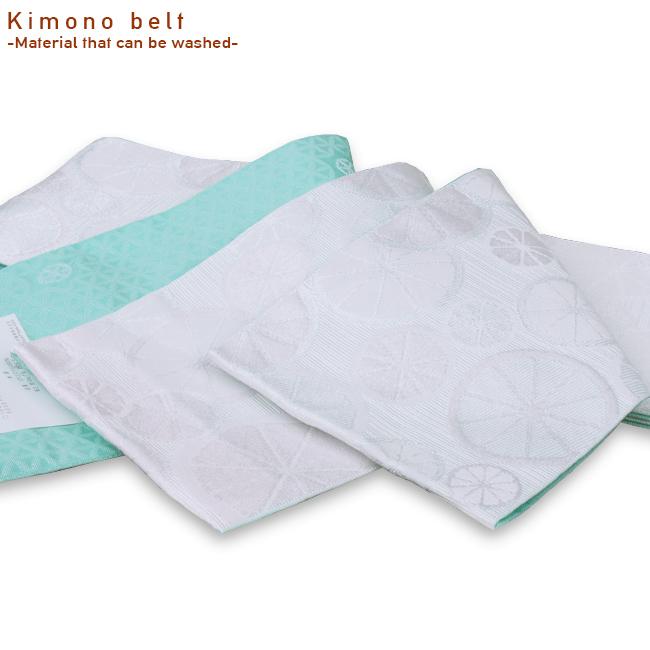 日本製 ポリエステル100%半巾帯-浴衣半巾帯 ついに入荷 着物に 浴衣に幅広く楽しめます 4mロングサイズ 洗える リバーシブル半幅帯 エメラルドグリーン 着物 平帯 浴衣帯シトラス柄と六角面柄白 激安通販販売 青磁色