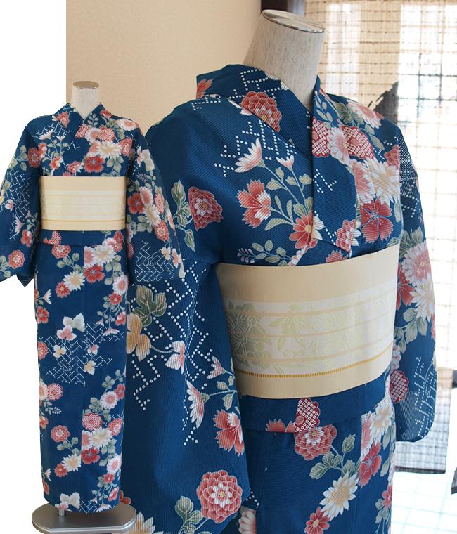 綿100%大人の綿絽浴衣菊、なでしこ、萩の花柄-青/紺色/瑠璃色/赤/朱鷺色/白フリーサイズ・単品浴衣・女性ゆかた絽変わり織 綿-女性浴衣 紺色