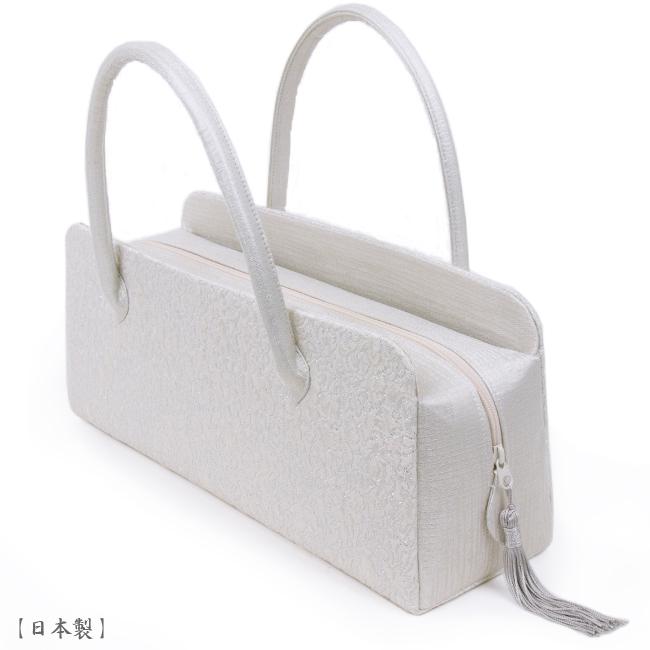 【送料無料】【日本製】利休バッグ- 和装バックお茶席バッグ・ボストンバッグ/横長タイプ-織り柄/白、アイボリー、白金、銀-フォーマルな装いに・訪問着・色留袖・色無地