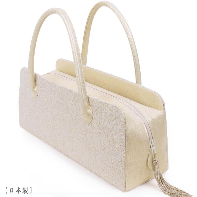 【送料無料】【日本製】利休バッグ- 和装バックお茶席バッグ・ボストンバッグ/横長タイプ-織り柄/白金、アイボリー、金-フォーマルな装いに・訪問着・色留袖・色無地
