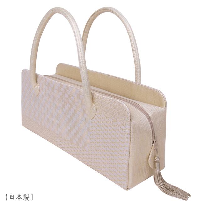 【送料無料】【日本製】利休バッグ- 和装バックお茶席バッグ・ボストンバッグ/横長タイプ-織り柄/控えめの金地-フォーマルな装いに・訪問着・色留袖・色無地