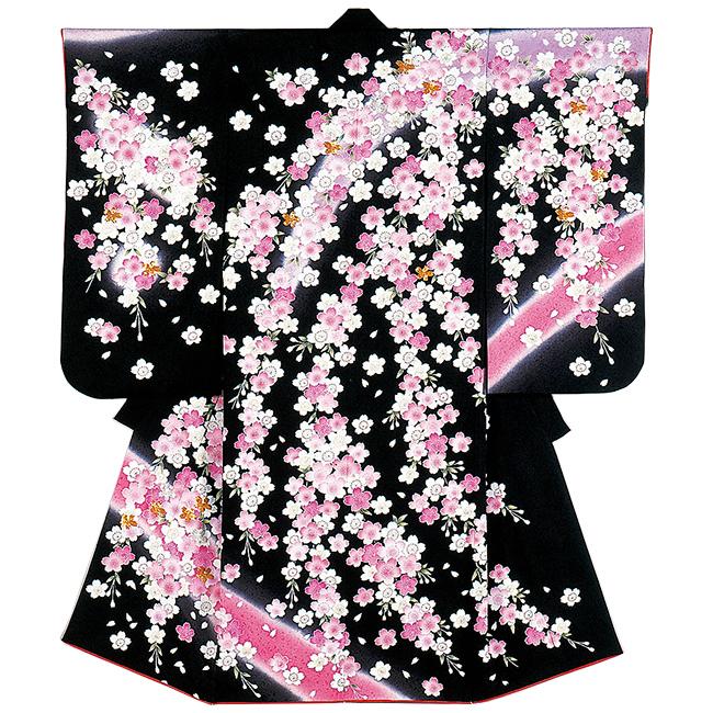 【201】日本製 高級 七五三女児四ツ身絵羽正絹仕立て-桜-黒地 羽織・着物・長襦袢【女の子】