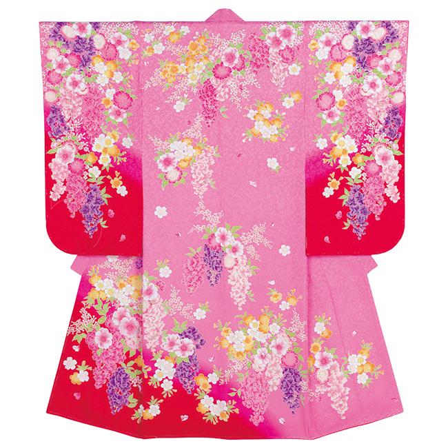 【607】日本製 高級 七五三女児四ツ身絵羽正絹仕立て-藤-黒地 羽織・着物・長襦袢【女の子】