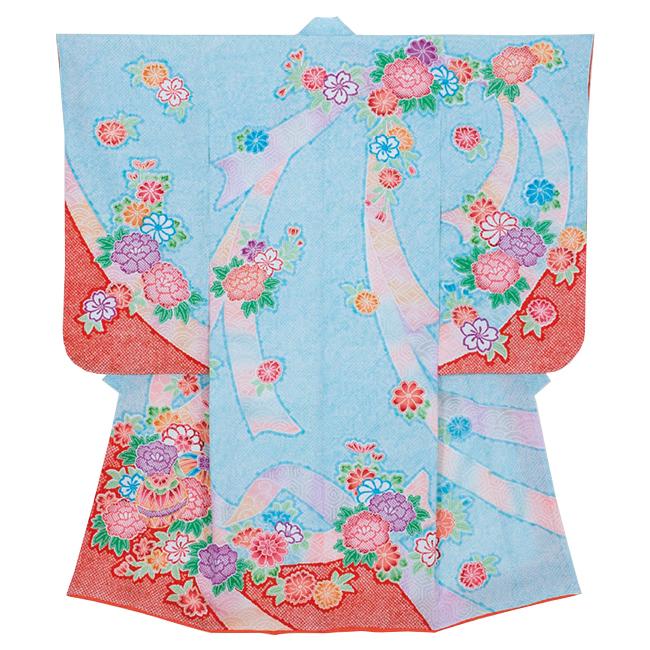 【85507】日本製 高級 七五三女児四ツ身絵羽正絹仕立て-花、水色、赤地 羽織・着物・長襦袢【女の子】
