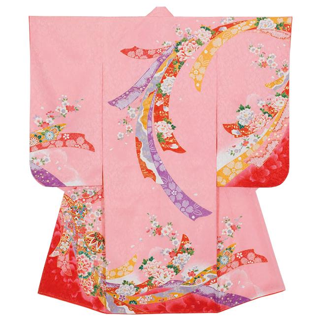 【85608】日本製 高級 七五三女児四ツ身絵羽正絹仕立て-花、手毬、ピンク地 羽織・着物・長襦袢【女の子】