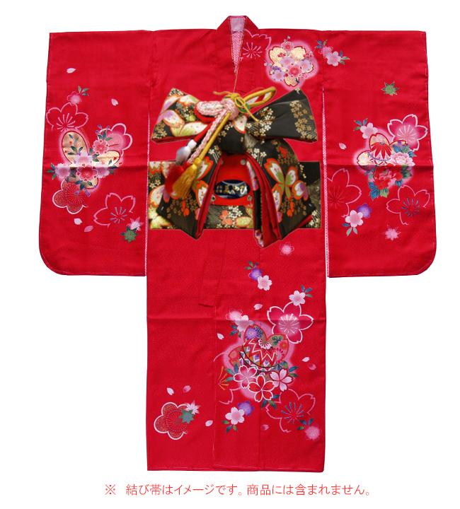 日本製 高級 七五三女児四ツ身絵羽/7歳女の子用着物ポリエステル -花、手毬-赤色地 羽織・着物・長襦袢【女の子】