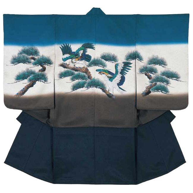 【114】日本製 正絹 高級 七五三男児四ツ身アンサンブル正絹仕立て 羽織青緑、茶、白、松、鷹ボカシ、正絹リンズ手描き