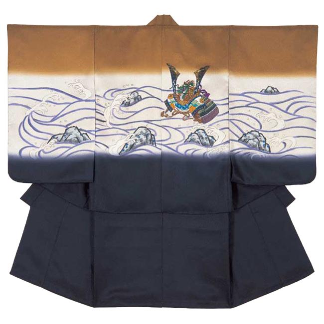 【115】日本製 正絹 高級 七五三男児四ツ身アンサンブル正絹仕立て 羽織茶、オレンジ、青海波、兜、波、ボカシ、正絹リンズ手描き