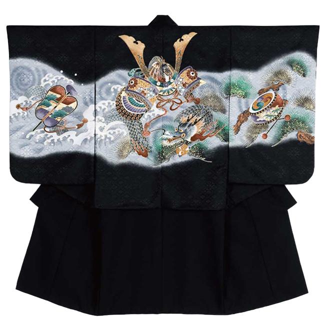 【316】日本製 高級 七五三男児四ツ身アンサンブル合繊仕立て-羽織黒、ボカシ、龍、兜、軍配、太鼓