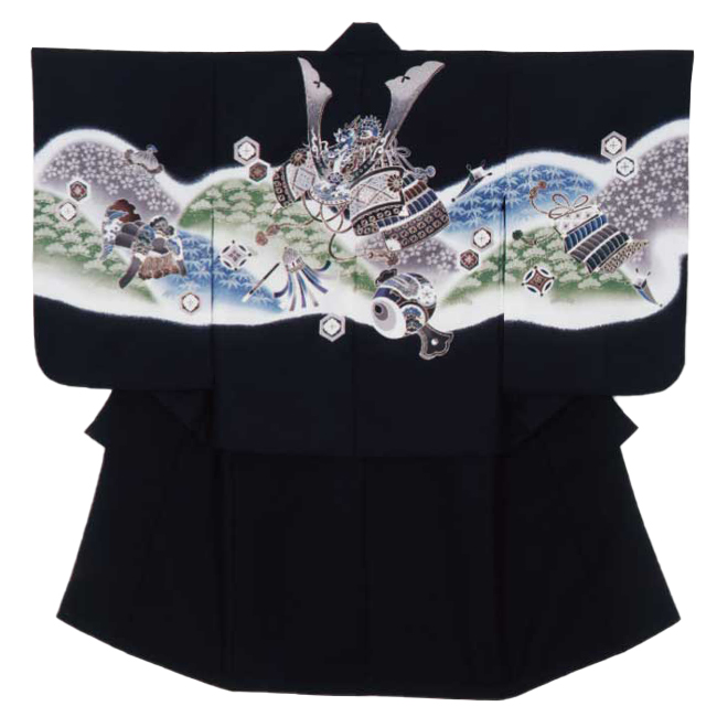 【415】日本製 高級 七五三男児四ツ身アンサンブル合繊仕立て-羽織黒、兜、鎧、青、緑、小槌