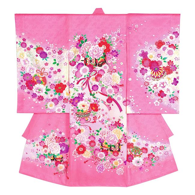 【202】日本製 高級 お宮参り女児宮まいり初着正絹仕立て-御所車、鞠、鼓、花、ピンク地・着物【女の子】