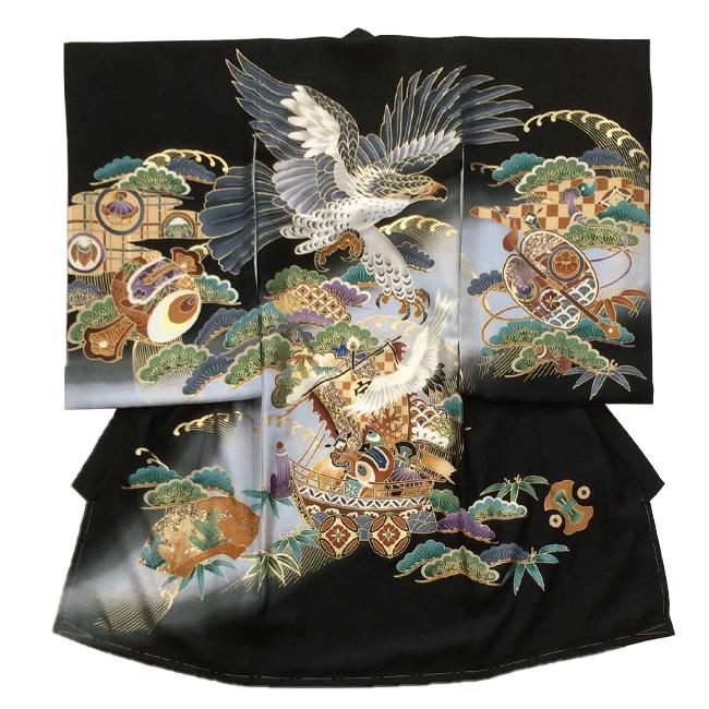 【507】日本製 高級 お宮参り男児宮まいり初着正絹仕立て-鷲、小槌、軍配、黒地・着物【男の子】