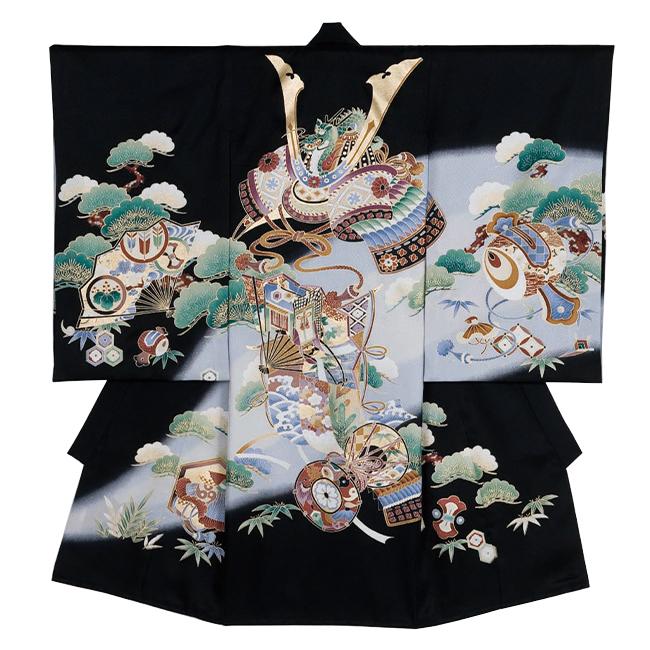 【712】日本製 高級 お宮参り男児宮まいり初着正絹仕立て-鎧兜、小槌、鼓、黒地、ボカシ・着物【男の子】