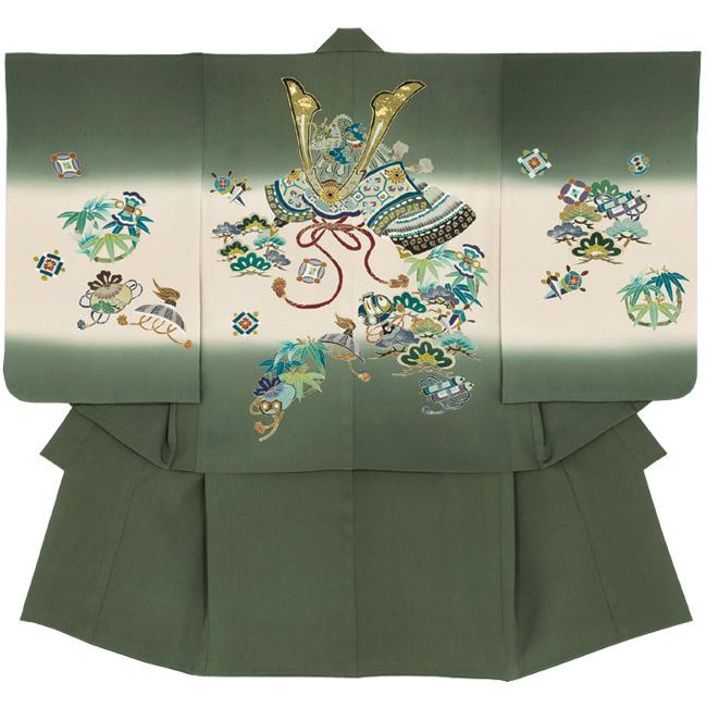 【101】日本製 高級 七五三男児四ツ身アンサンブル・羽織正絹仕立て-兜-緑 羽織・着物・長襦袢【三才/五才/七才/男の子】