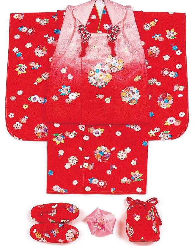 【103】日本製高級七五三三ツ身被布セット正絹仕立て着物・被布・草履・髪飾り・巾着【女の子/女児七五三】