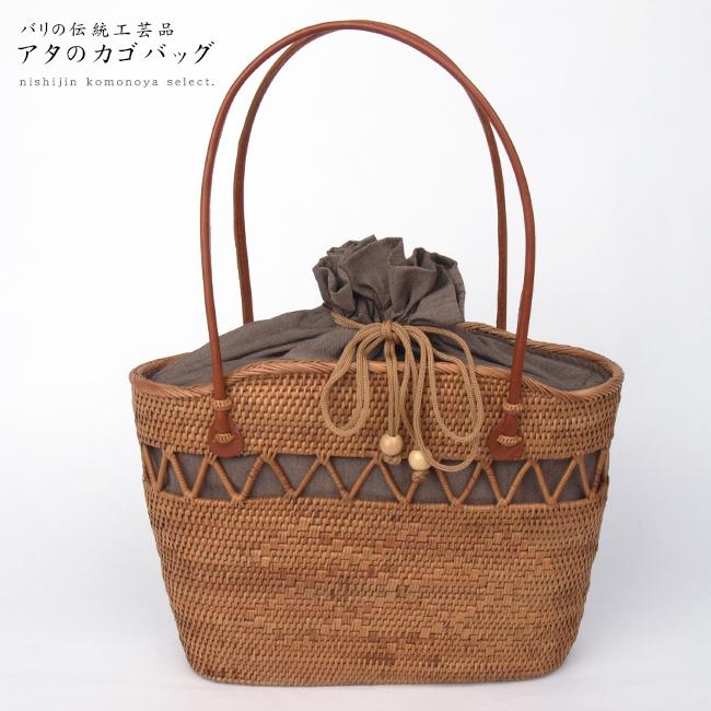【高級 夏籠バッグ】アタのカゴバッグお洋服、お着物、浴衣にも。【バリ島の伝統工芸品】【インドネシア製】