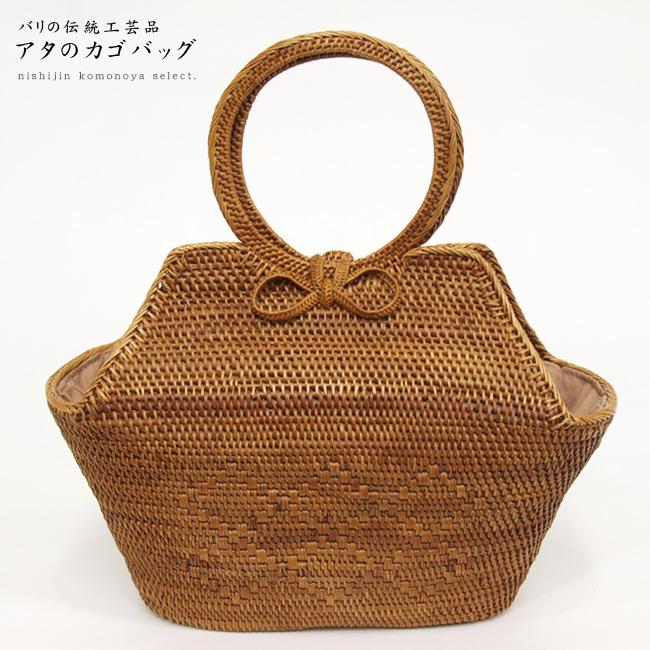 【高級 夏籠バッグ】アタのカゴバッグ-2*お洋服、お着物、浴衣にも。【バリ島の伝統工芸品】【インドネシア製】ab-1712