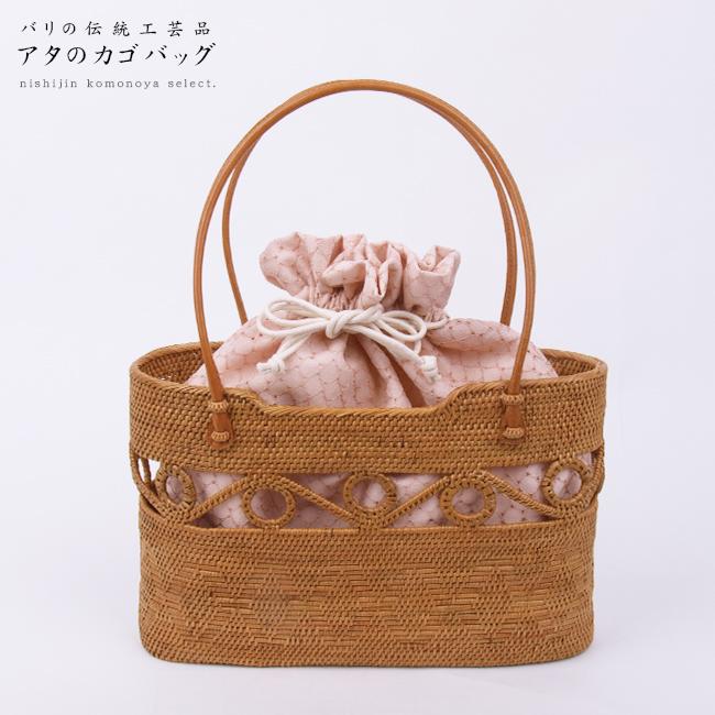 【高級 夏籠バッグ】アタのカゴバッグインドネシア製お洋服、お着物、浴衣にも。【バリ島の伝統工芸品】【インドネシア製】