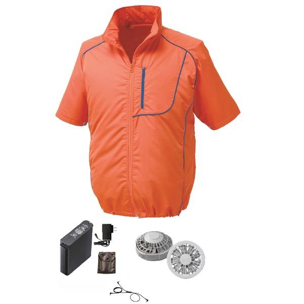 ★今夜20時-4H全品P5倍★空調服製 ポリエステル製半袖空調服(KU91720) リチウムバッテリーセット(LIPRO2) ファンカラー:グレー 【カラー:オレンジ×ネイビー サイズ:L】