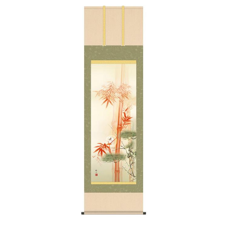 洛彩緞子本表装 浮田秋水 「吉祥白雀図」 KZ2D7-036 幅54.5×高さ約190cm