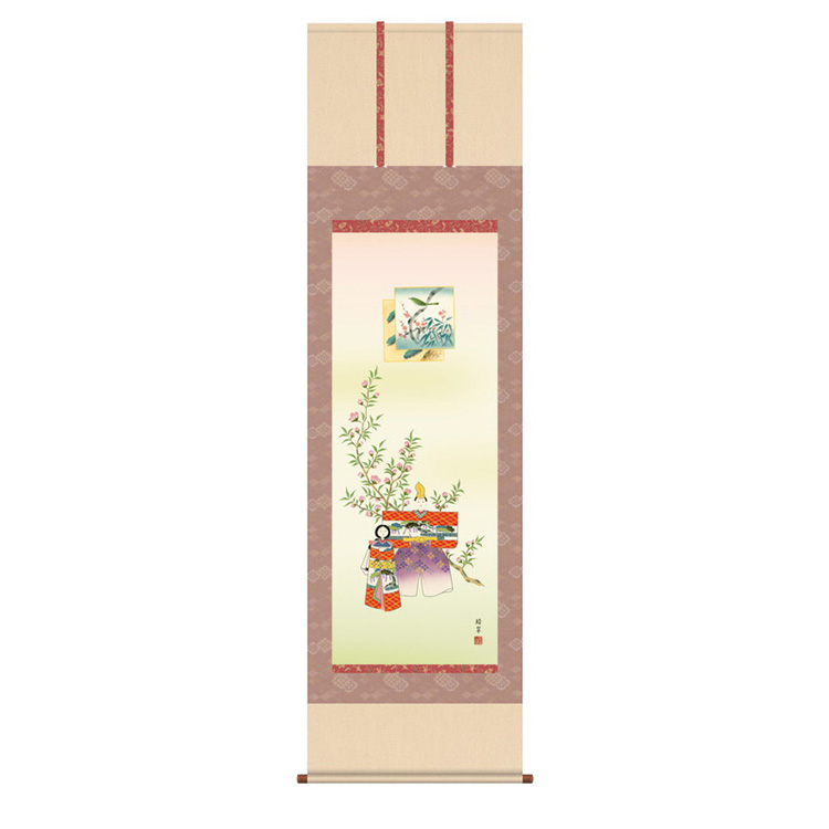 洛彩緞子本表装 香山緑翠 「立雛」 KZ2F1-183 幅54.5×高さ約190cm