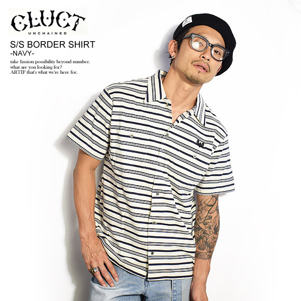 30%OFF SALE セール クラクト CLUCT S/S BORDER SHIRT -NAVY- 03016 cluct メンズ レディース シャツ 半袖 ボーダー 刺繍 イーグル カットソー トップス 送料無料 ストリート 即日発送