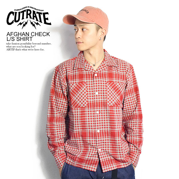 40%OFF SALE セール カットレイト CUTRATE AFGHAN CHECK L/S SHIRT cr-18aw007 cutrate メンズ レディース 送料無料 ストリート