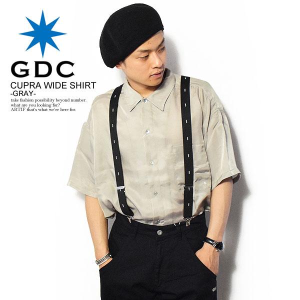 ジーディーシー GDC CUPRA WIDE SHIRT -GRAY- m36012 レディース メンズ シャツ 半袖 半袖シャツ ワイドシルエット ルーズシルエット おしゃれ かっこいい カジュアル ファッション 大きいサイズ ストリート トップス gdc